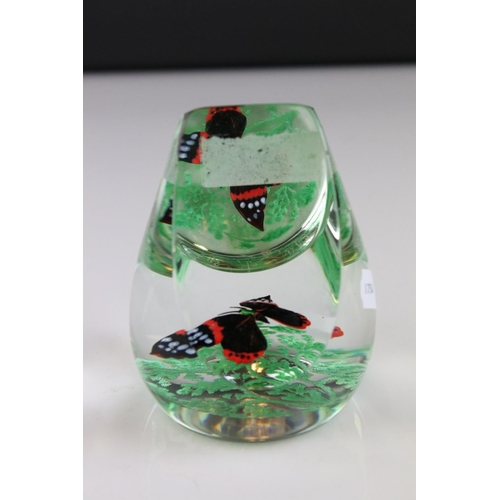 31 - A Caithness glass limited edition butterfly paperweight 34/100 etched to underside Red Admiral Caith...