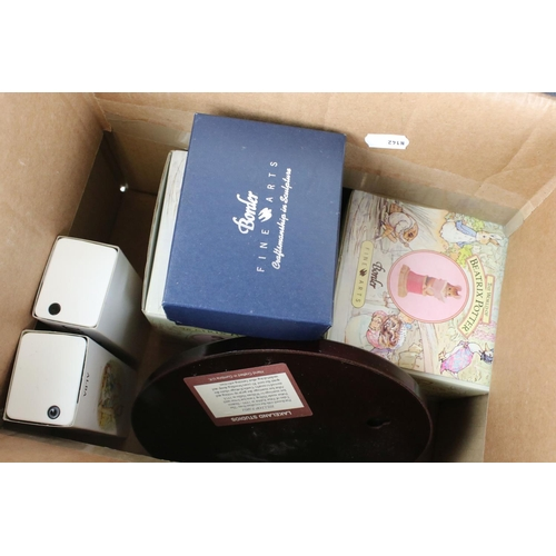 37 - A group of Wedgwood Jasperware items to include trinket box pin tray etc together with three boxed B...
