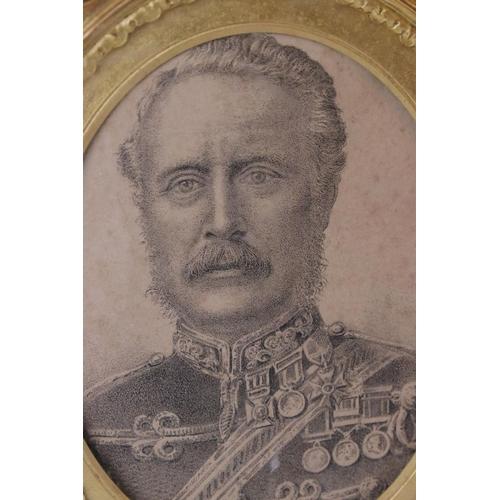 39 - Antique boxed framed and glazed monochrome gilt framed print portrait of General Gordon of Khartoum.