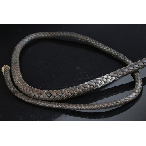 41 - A rustic antique horse whip with  handle.