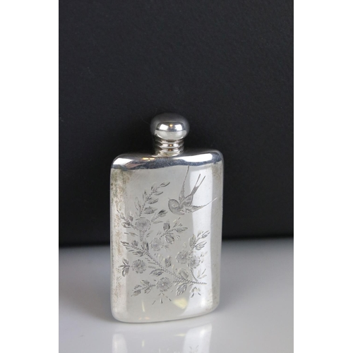 42 - A fully hallmarked sterling silver flask, with bird and fauna engraved decoration, maker marked for ...