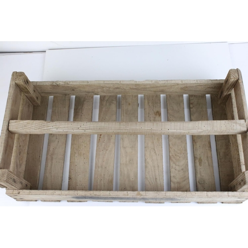 43 - Original Vintage French Wooden Trug / Crate marked ' Poireaux ' (leeks), 60cms long
