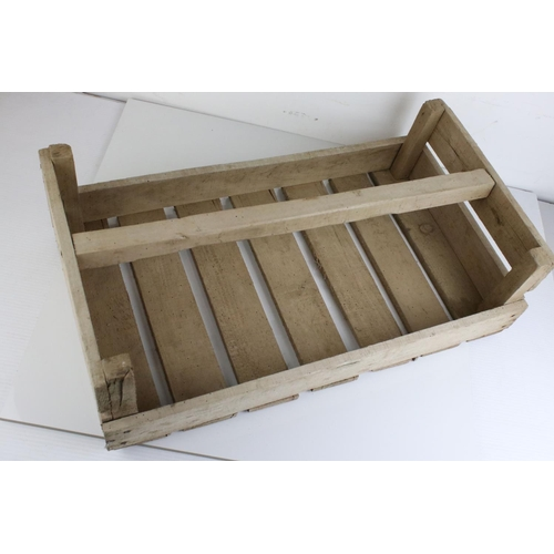 44 - Original Vintage French Wooden Trug / Crate marked ' Pommes De Terre '(potatoes), 60cms long