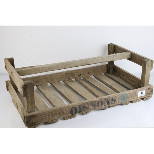 46 - Original Vintage French Wooden Trug / Crate marked ' Oignons ' (onions), 60cms long