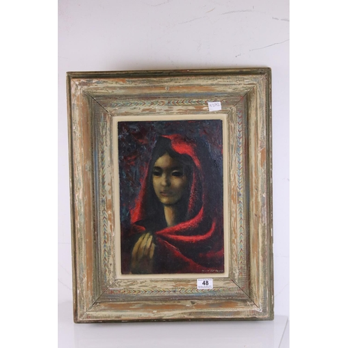 48 - A Mid 20th century oil on board framed portrait of a cowled woman signed WINTER  41 x 29 cm.