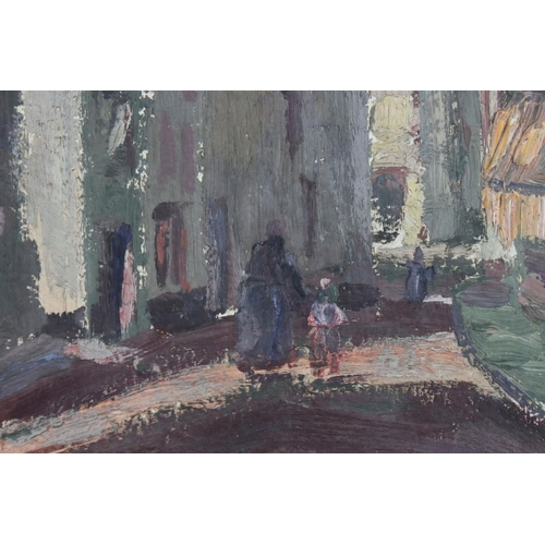 49 - A mid 20th century oil on board Continental  street scene with indistinctly signed 34 x 26 cm.