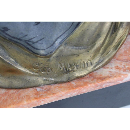52 - An Art Deco group of a woman with fawn mounted on a marble base by George Maxim 50cm long x 30 cm ta...