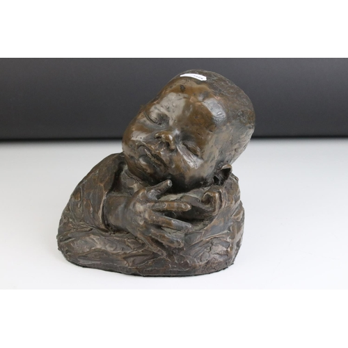 54 - Contemporary Bronze Sculpture of a Baby's Head and Hands, signed to verso Andrew ???, dated 1996, 17...