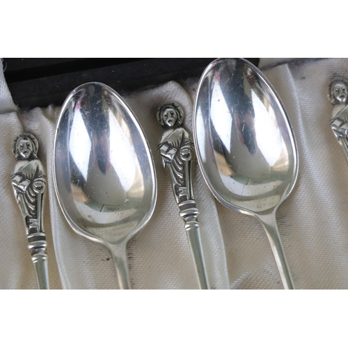 183 - Cased set of six silver apostle coffee spoons, makers Joseph Rodgers & Sons, Sheffield 1907, length ...