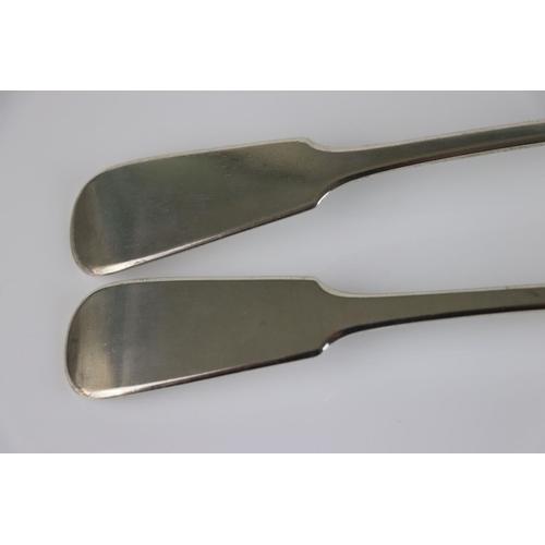187 - Pair of George IV/ William IV silver basting spoons, fiddle pattern, makers William Bateman II, Lond...