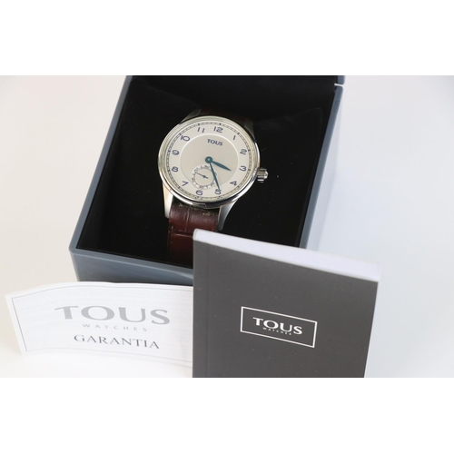 209 - A contemporary gents Tous wristwatch, complete with box and papers.