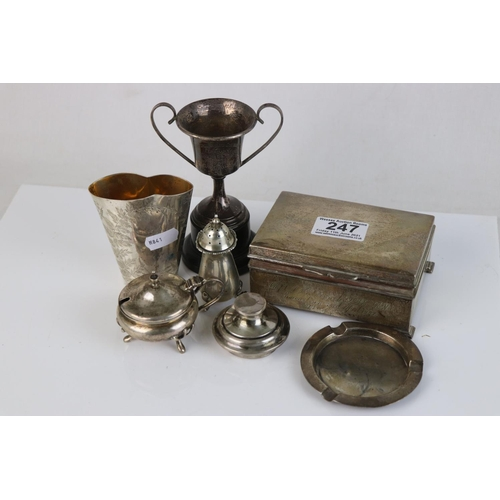 247 - A collection of fully hallmarked sterling silver to include Cigarette box, Trophy, astray, mustard a...