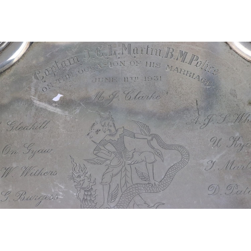 258 - A fully hallmarked sterling silver four footed tray, maker marked for Adie Brothers Ltd, assayed in ...