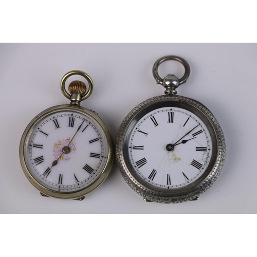 311 - Two vintage sterling silver cased fob watches, one assayed in Birmingham and dated 1886.