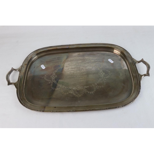 349 - A fully hallmarked sterling silver serving tray presented to the Mayor of Blackburn 1936, maker mark...