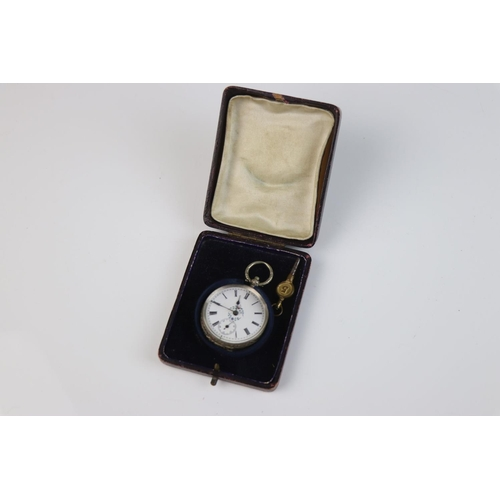 351 - A continental silver ladies fob watch with white enamel dial with floral decoration, sub second hand...