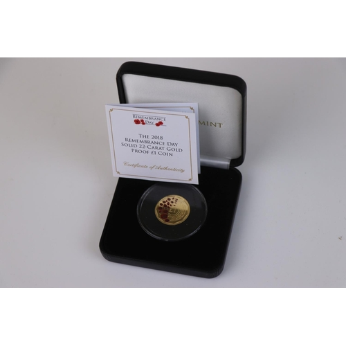 411 - A cased Jubilee Mint limited edition The 2018 Remembrance Day 22ct gold proof £1 coin, complete with...