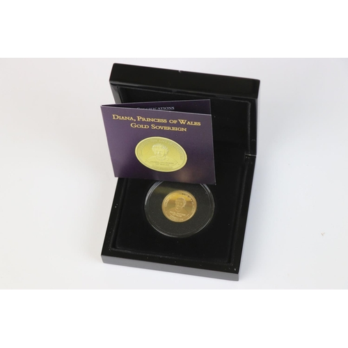 412 - A cased Bradford Exchange limited edition Tristan Da Cunha 2007 Diana Princess of Wales gold proof S...