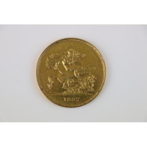 415 - A Queen Victoria Jubilee Head 1887 Gold £5 coin.