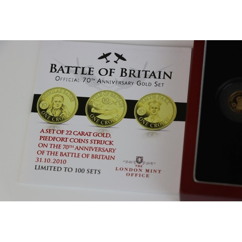 419 - A cased London Mint limited edition Battle Of Britain official 70th anniversary Tristan Da Cunha gol...