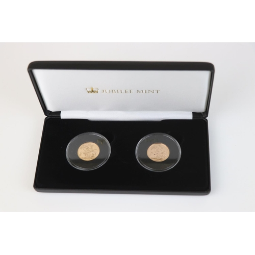 420 - A cased Jubilee Mint gold proof coin set to include the 1982 full gold proof sovereign and the 2018 ...