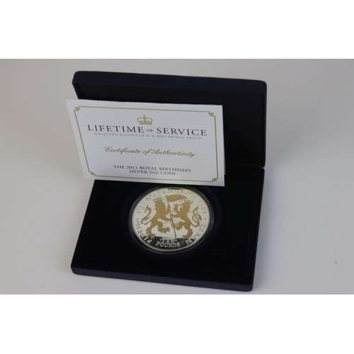 421 - A cased Westminster Mint 2011 Lifetime of Service Royal Birthdays silver 5oz coin, complete with C.O...