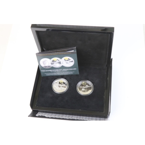424 - A cased limited edition Bradford Mint The Dambusters 75th Anniversary silver dollar coin set, to inc...
