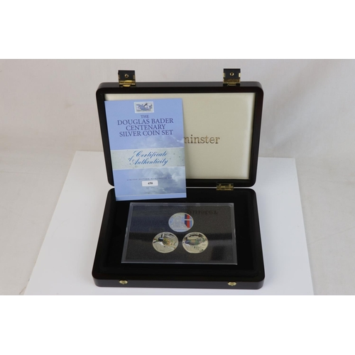 426 - A cased limited edition Westminster Mint Douglas Bader Centenary silver coin set to include three si...
