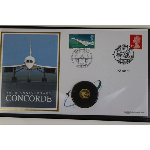 427 - A Jubilee Mint 50th Anniversary of Concorde solid gold coin first day cover, 2019 gold twenty five p...