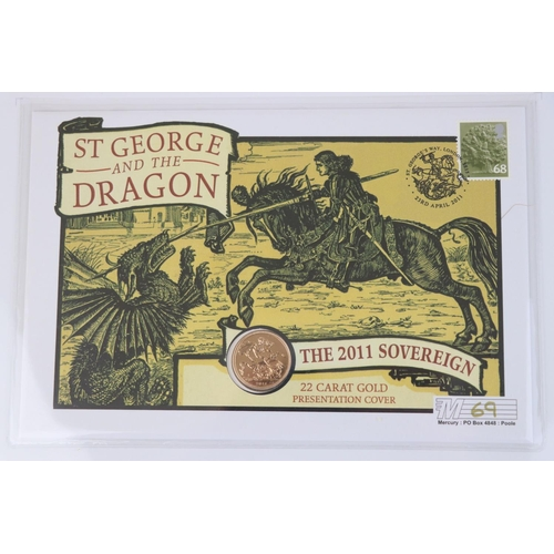428 - A Westminster Mint limited edition 2011 gold sovereign St. George & The Dragon presentation cover, N...