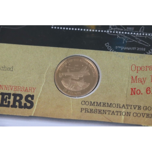 429 - A Westminster Mint limited edition 2008 The Dambusters 65th Anniversary £25 pound 22ct gold coin pre...