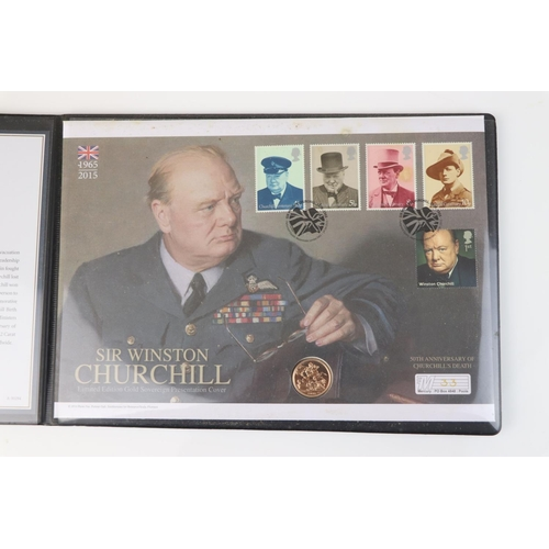 430 - A Westminster Mint limited edition 2015 gold sovereign Winston Churchill presentation cover, No.33 o...