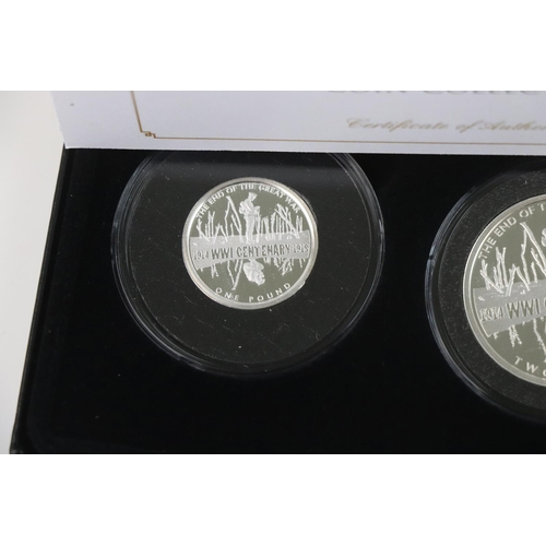 443 - A Jubilee Mint limited edition The Centenary of World War One Solid Silver proof coin collection to ...