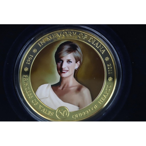 444 - Two cased Westminster Mint silver proof coins to include a Princess Diana 50th Birthday Gold Plated ...