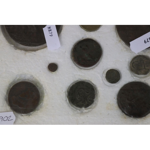 453 - A framed collection of antique medallions, early milled and hammered coins to include a Queen Elizab...