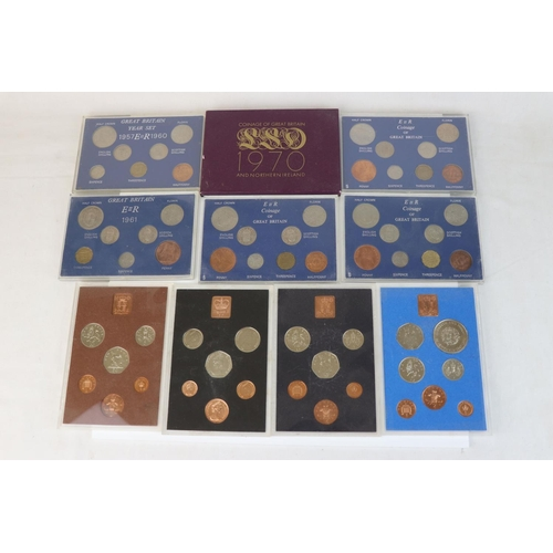 456 - A collection of ten Royal Mint coin year sets to include 1958, 1964, 1961, 1962, 1966, 1972, 1976, 1...
