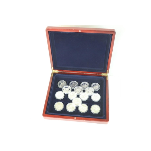459 - A collection of sixteen silver proof coin relating to Nelson and the Battle of Trafalgar to include ...