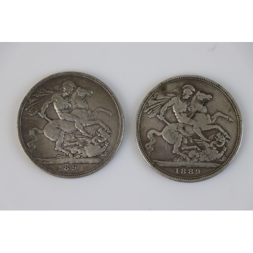 461 - Two Queen Victoria Full Crown coins, both Jubilee head examples dating 1889 and 1891.