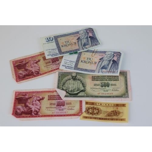 472 - A collection of approx 45 mixed banknotes to include Britsh Pre-decimal and worldwide.