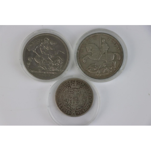 500 - A British King George V 1935 Rocking horse full crown coin together with a 1895 Queen Victoria 1895 ...