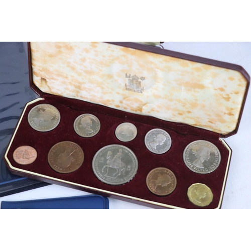 518 - A collection of mainly British coins to include a cased 1953 Royal Mint 1953 coin set, a 1970 Royal ...