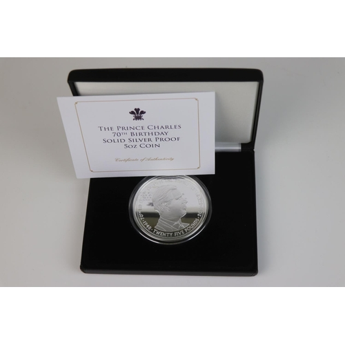 559 - A Jubilee Mint limited edition fine silver £25 Prince Charles 70th Birthday solid silver proof 5 oun...