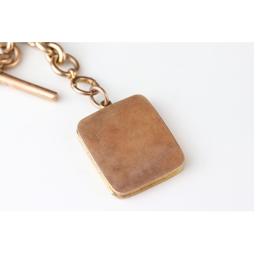 10 - 9ct rose gold graduated curb link albert chain, each link hallmarked with 9ct gold toggle and 9ct t-...