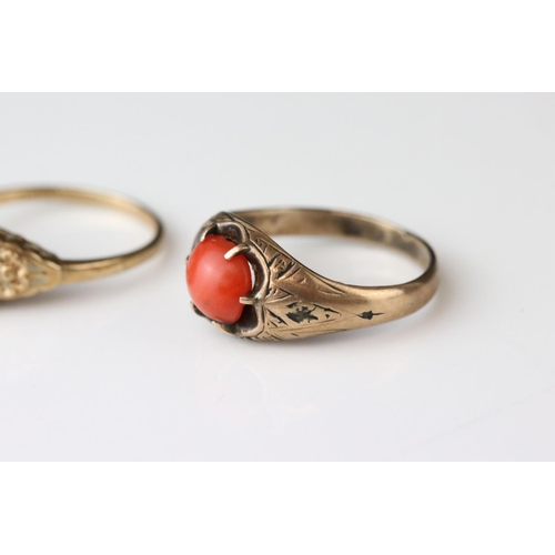 123 - Victorian coral 9ct yellow gold ring, the oval cabochon cut coral measuring approx 6.5mm x 7.5mm, si...