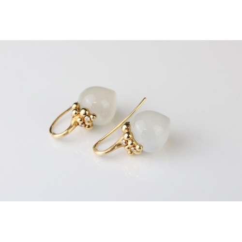 13 - Pair of Ole Lynggaard moonstone and diamond 18ct yellow gold drop earrings, each tapered moonstone m...