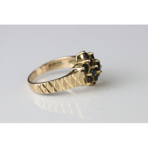 131 - Sapphire 9ct yellow gold cluster ring, together with black sapphire and white stone 9ct yellow gold ...