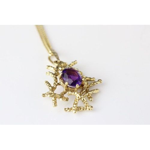 142 - Amethyst 9ct yellow gold pendant necklace, the oval mixed cut amethyst set to textured abstract surr...