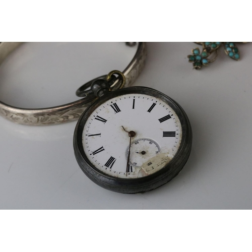 174 - Silver cased pocket watch (af) together with a silver hinged bangle hallmarked Birmingham 1964 etc