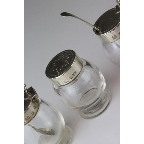 177 - Victorian Silver Quatrefoil Cruet Stand holding Pair of Glass Mustards with Silver Lids and Spoons, ...