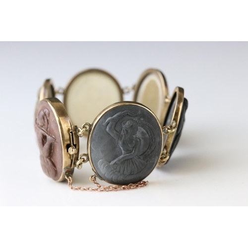 2 - 19th century Italian Grand Tour lava cameo bracelet, comprising six classical Roman cameo panels, ru...
